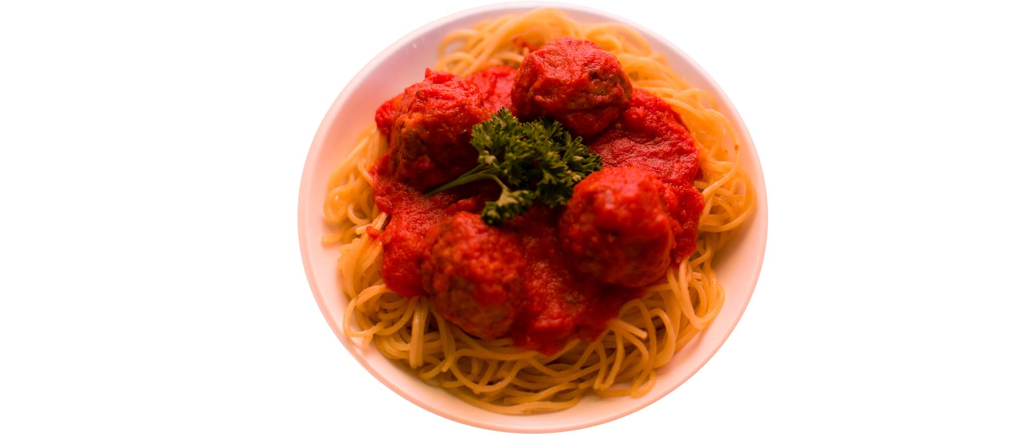 pasta with sauce and meatballs